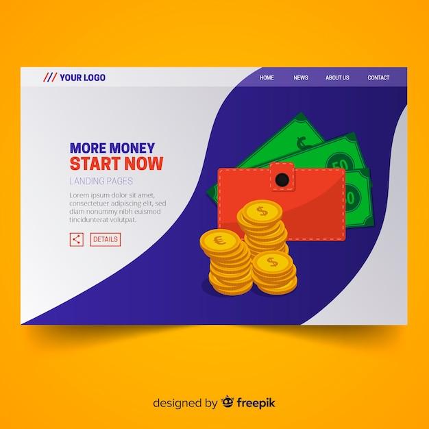 Плоская целевая страница денег с кошелька Бесплатные векторы