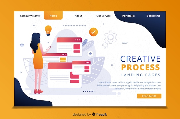 創造性プロセスのランディングページテンプレート 無料ベクター