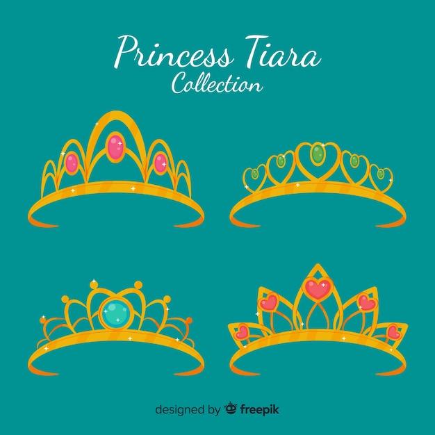 Плоская принцесса тиара коллекцион Бесплатные векторы