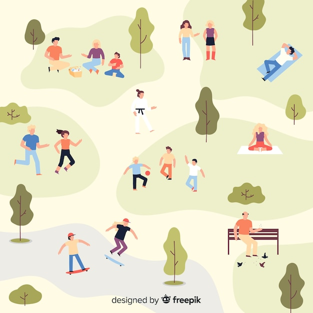 公園の人々 無料ベクター