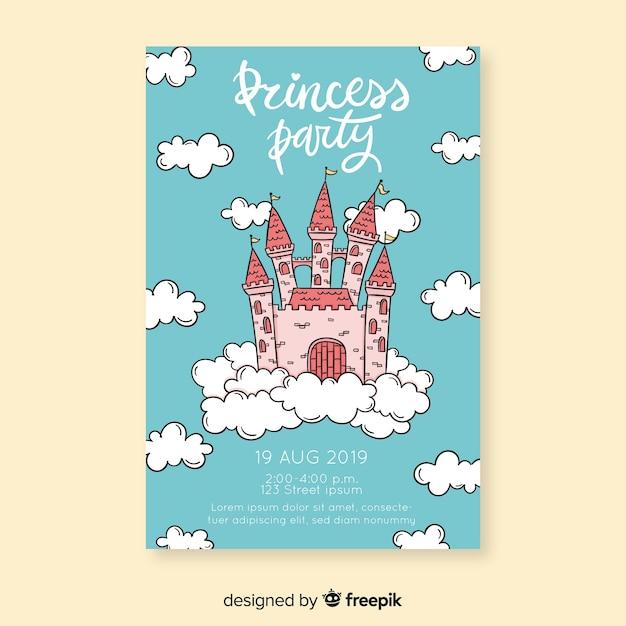 かわいい王女党の招待状 無料ベクター