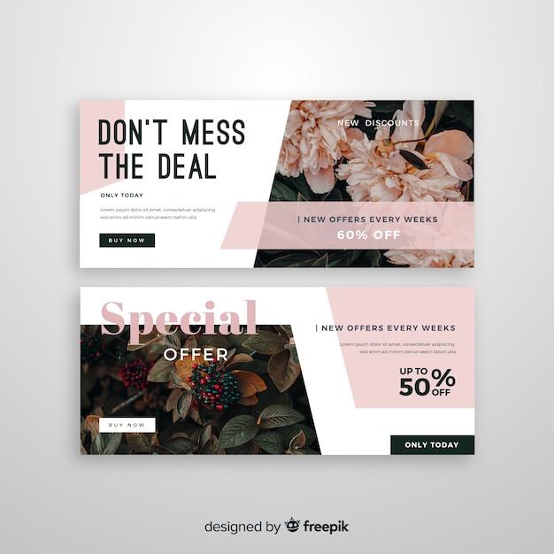 写真と抽象的な販売バナーテンプレート 無料ベクター