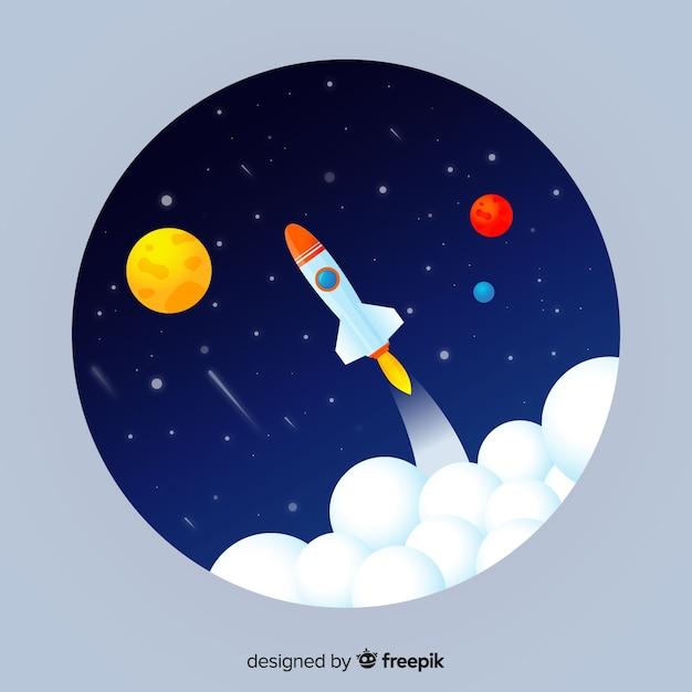 ロケットとグラデーション銀河の背景 無料ベクター