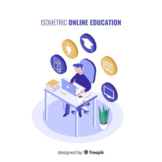 等尺性オンライン教育の概念 無料ベクター