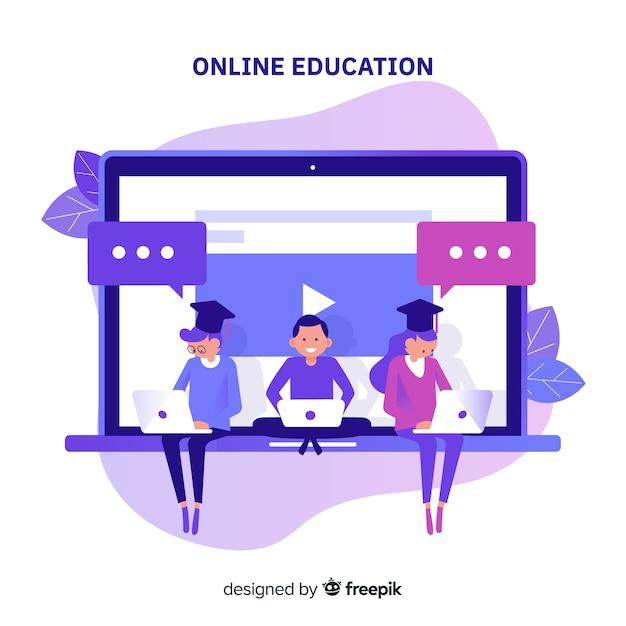 オンライン教育の概念 無料ベクター