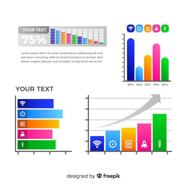 棒グラフのインフォグラフィック 無料ベクター