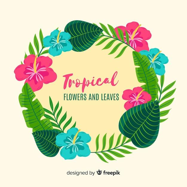 熱帯植物の花輪の背景 無料ベクター