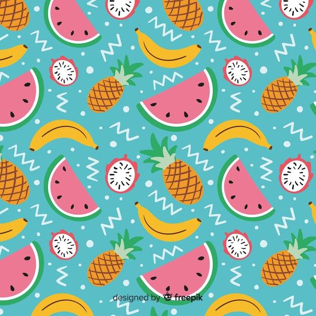 Плоские тропические фрукты шаблон Бесплатные векторы
