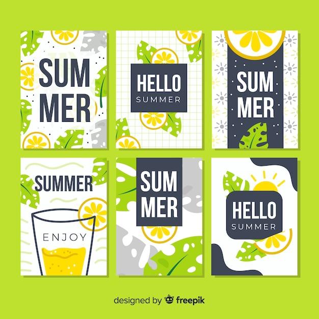 手描き夏カード 無料ベクター