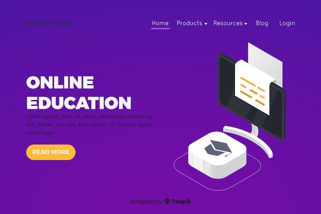Шаблон целевой страницы для онлайн-обучения Бесплатные векторы