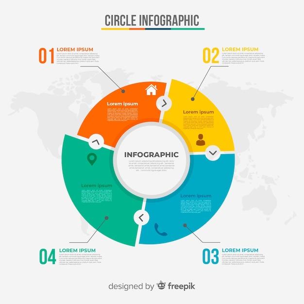 円グラフのインフォグラフィック 無料ベクター