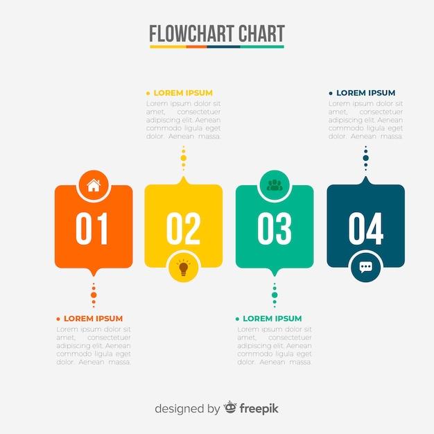 Блок-схема инфографики Бесплатные векторы