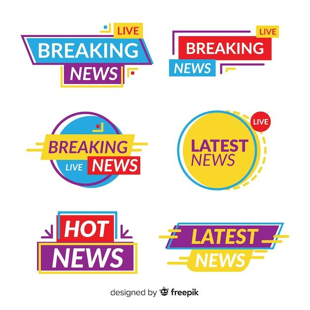 Красочные баннеры последних новостей Бесплатные векторы
