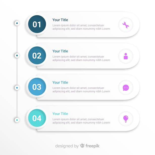 Шаг инфографики Бесплатные векторы