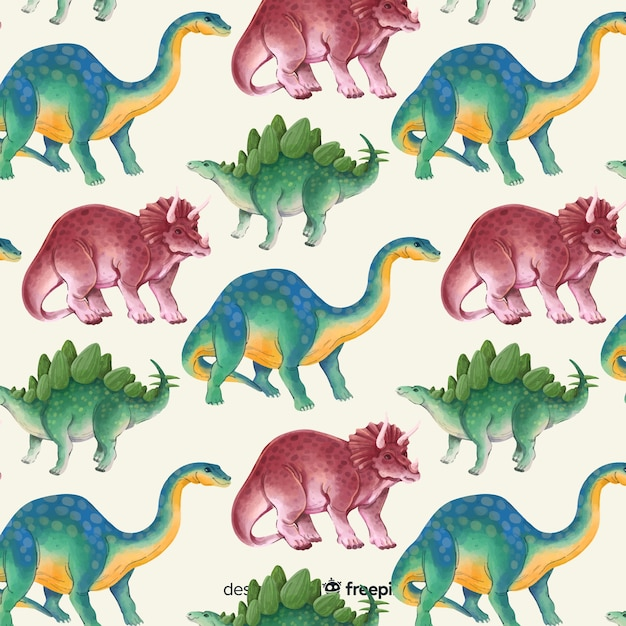 Акварельный рисунок динозавра Бесплатные векторы