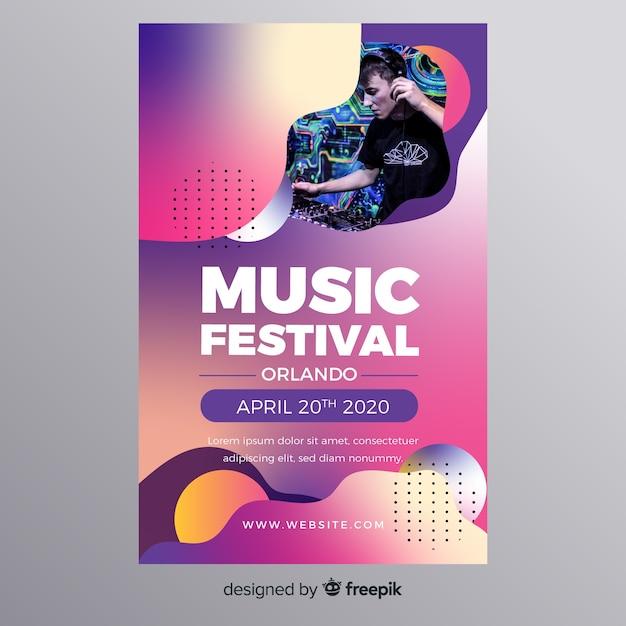 カラフルなグラデーション音楽祭のポスター 無料ベクター
