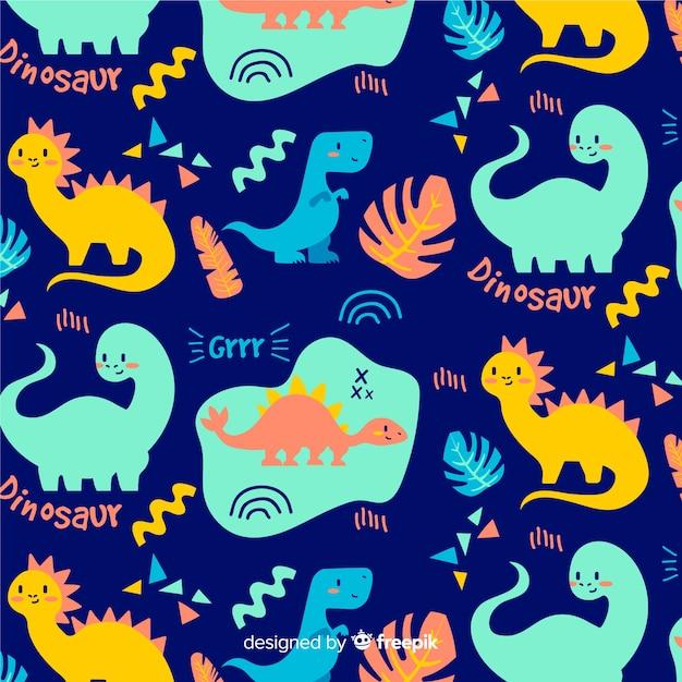 カラフルな手描きの恐竜パターン 無料ベクター