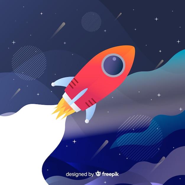 Градиент плоская ракета иллюстрация Бесплатные векторы