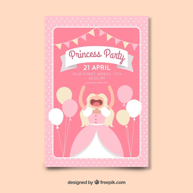 フラット風船プリンセスパーティーの招待状のテンプレート 無料ベクター