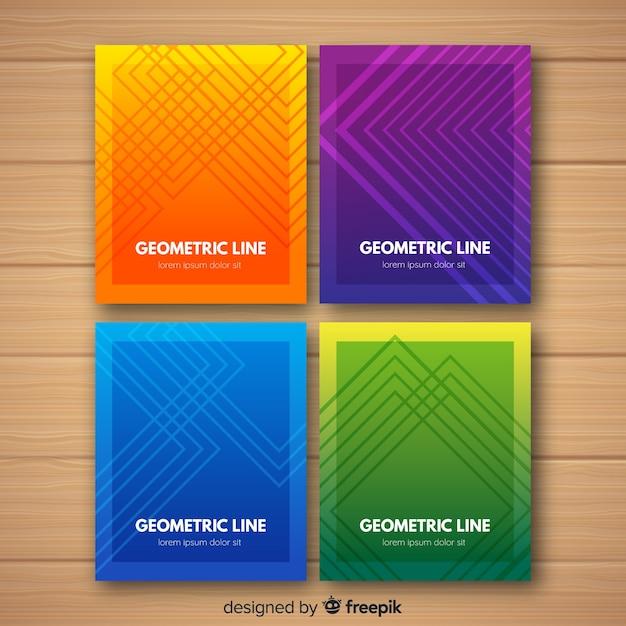 Красочные геометрические линии обложки коллекции Бесплатные векторы