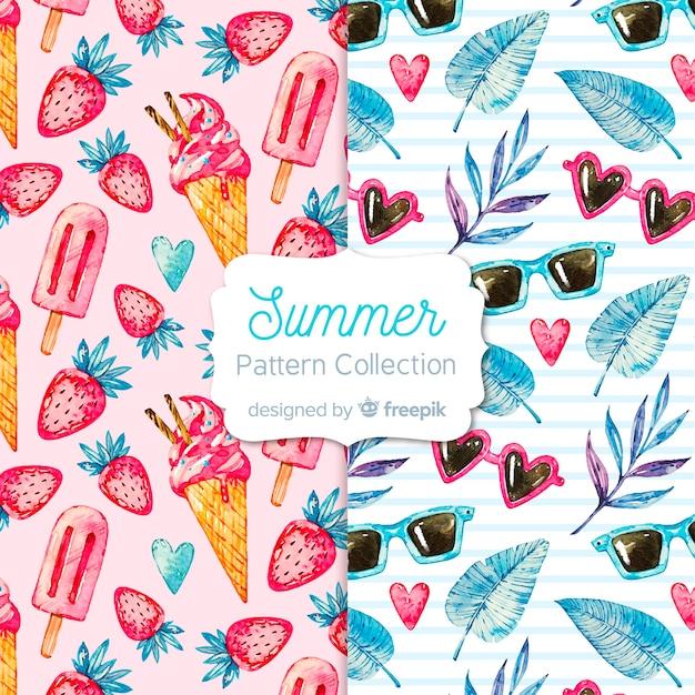 水彩夏パターンコレクション 無料ベクター