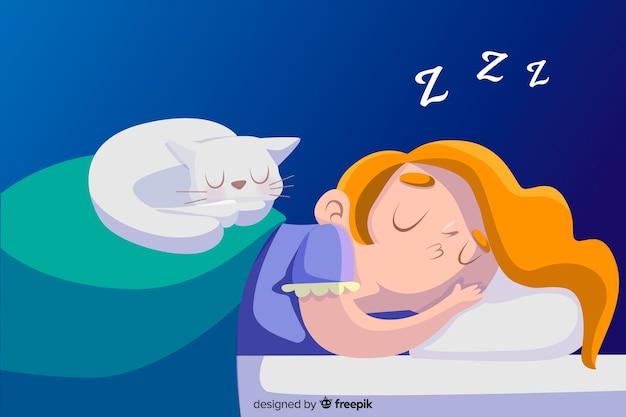 Ручной обращается человек спит в постели фоне Бесплатные векторы