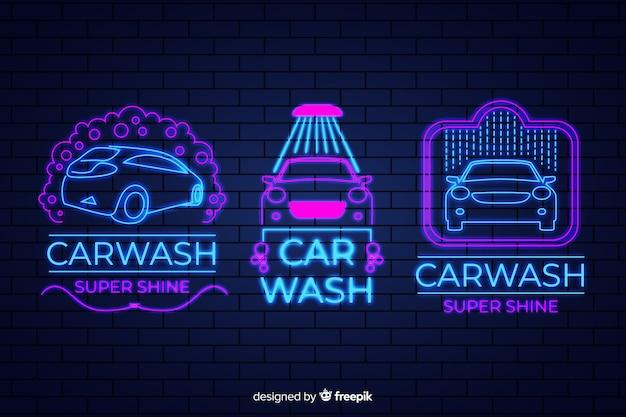 ネオン洗車サインパック 無料ベクター