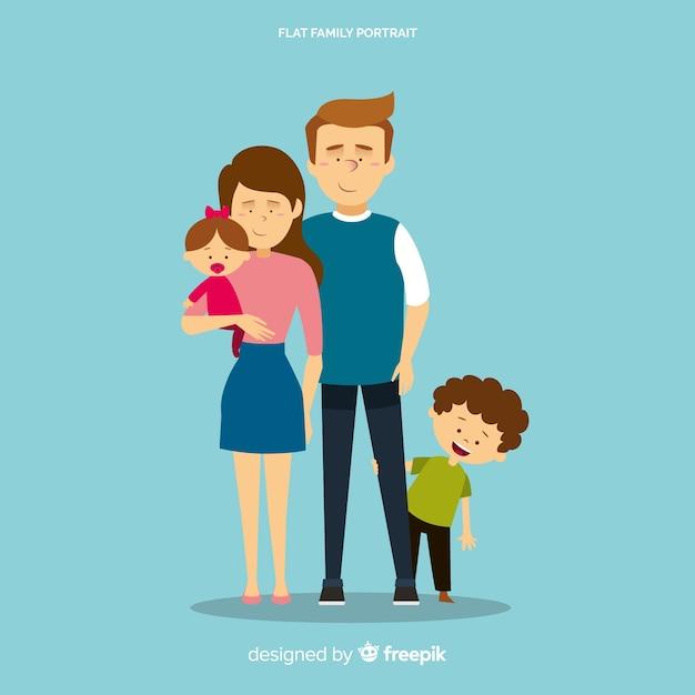 幸せな家族の肖像画、ベクトル文字デザイン 無料ベクター