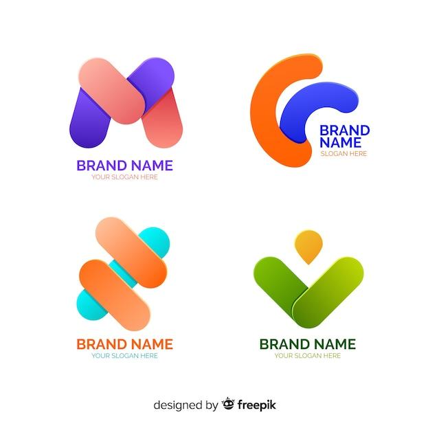 抽象的なロゴフラットコレクション 無料ベクター