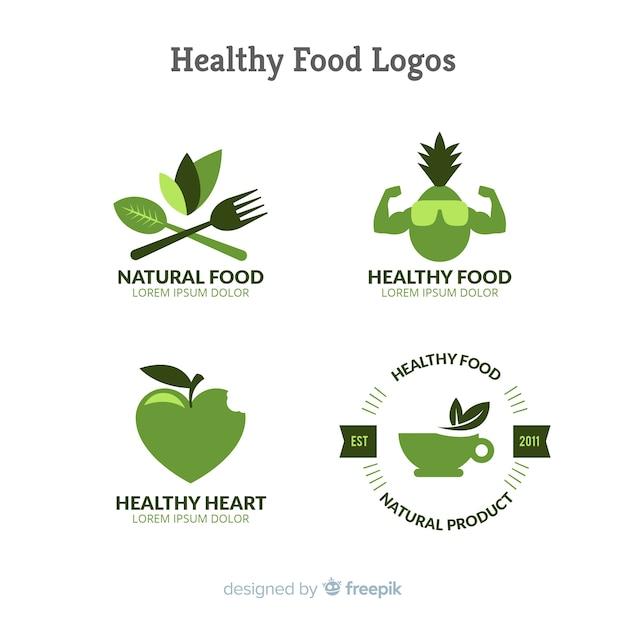 Логотипы здорового питания Бесплатные векторы