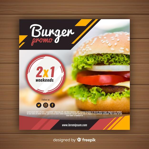 Продовольственный рекламный баннер с фото Бесплатные векторы