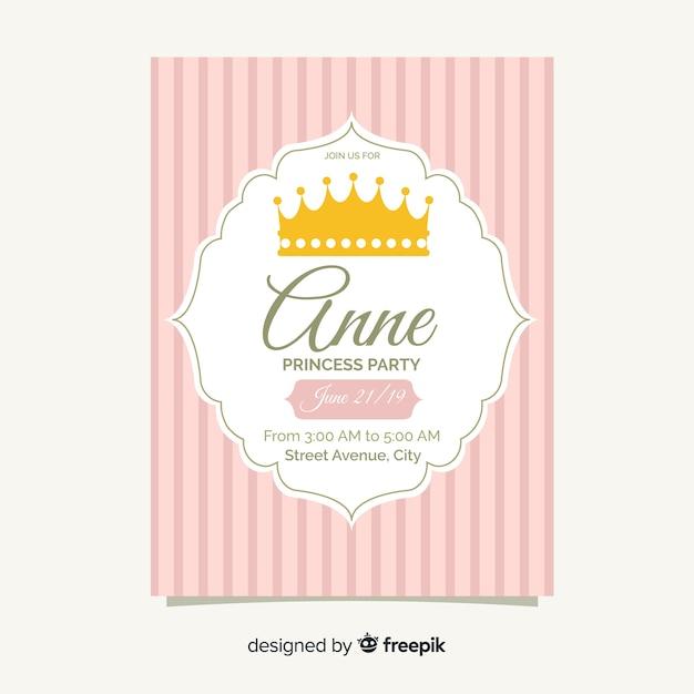Плоский шаблон приглашения на вечеринку принцессы Бесплатные векторы