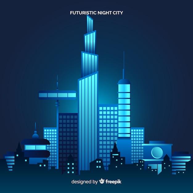 Плоский футуристический ночной город фон Бесплатные векторы