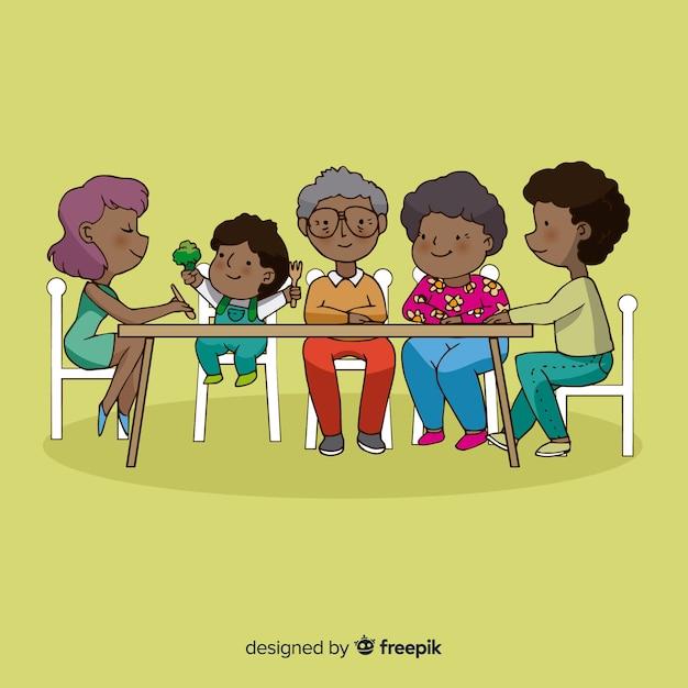 幸せな家族のキャラクターデザイン、テーブルに座って 無料ベクター