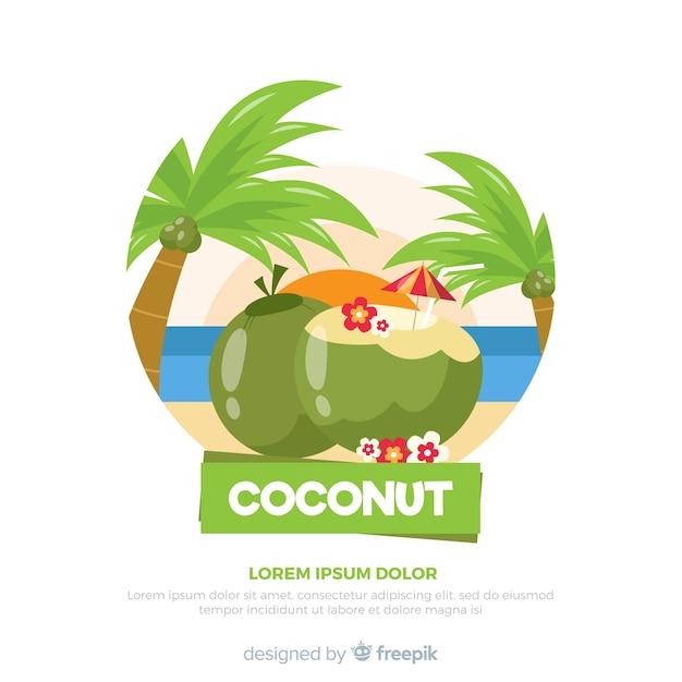 Ручной обращается кокосовый коктейль фон Бесплатные векторы