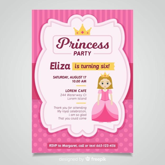 フラットプリンセスパーティーの招待状のテンプレート 無料ベクター