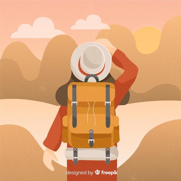 Исследователь с рюкзаком Бесплатные векторы