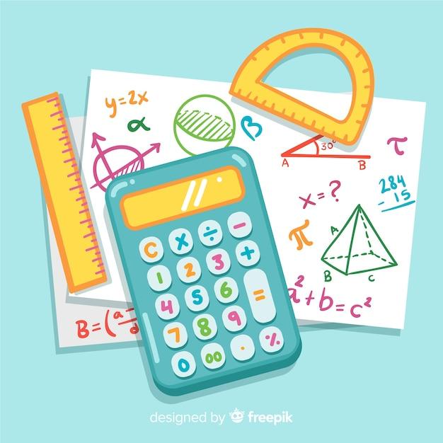 Мультфильм математические элементы фона Бесплатные векторы