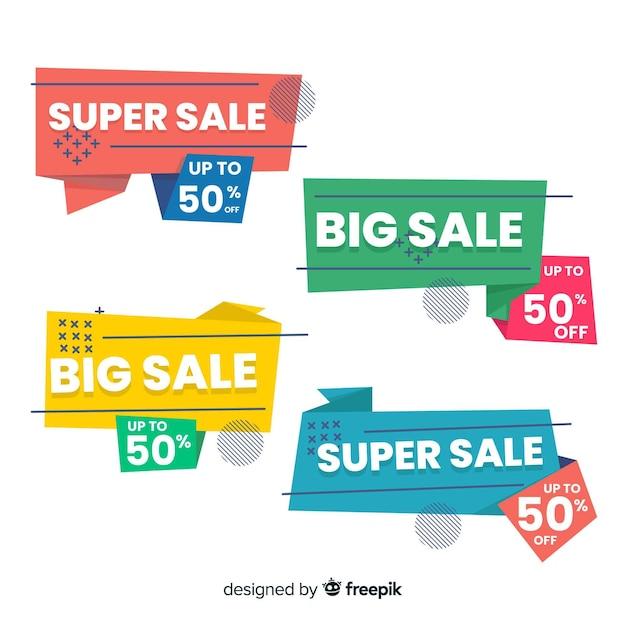 Продажа баннеров оригами продажа Бесплатные векторы