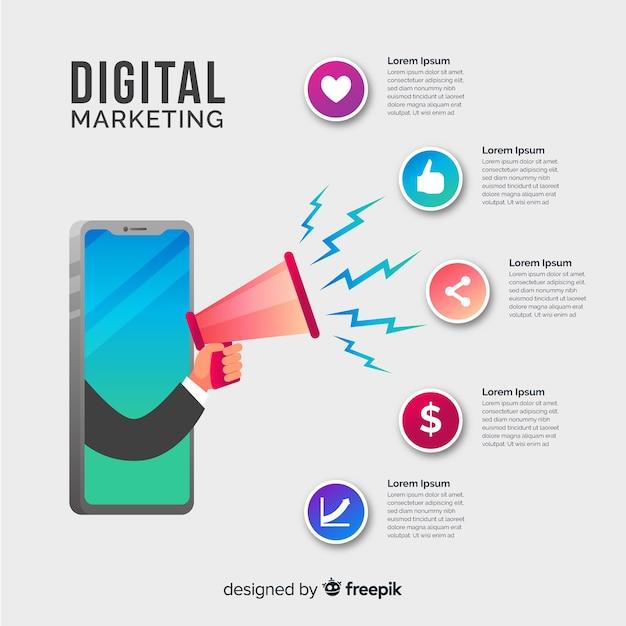デジタルマーケティングのインフォグラフィック 無料ベクター
