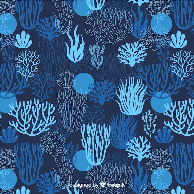 濃い手描きのサンゴパターン 無料ベクター