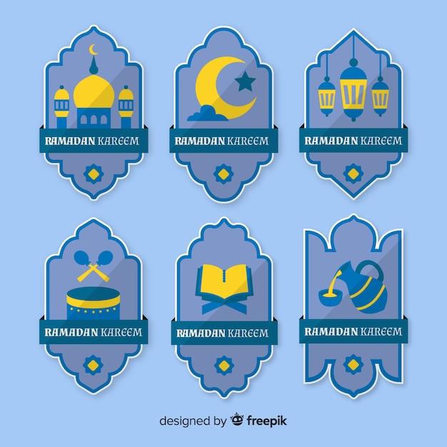 Плоская коллекция значков рамадан Бесплатные векторы