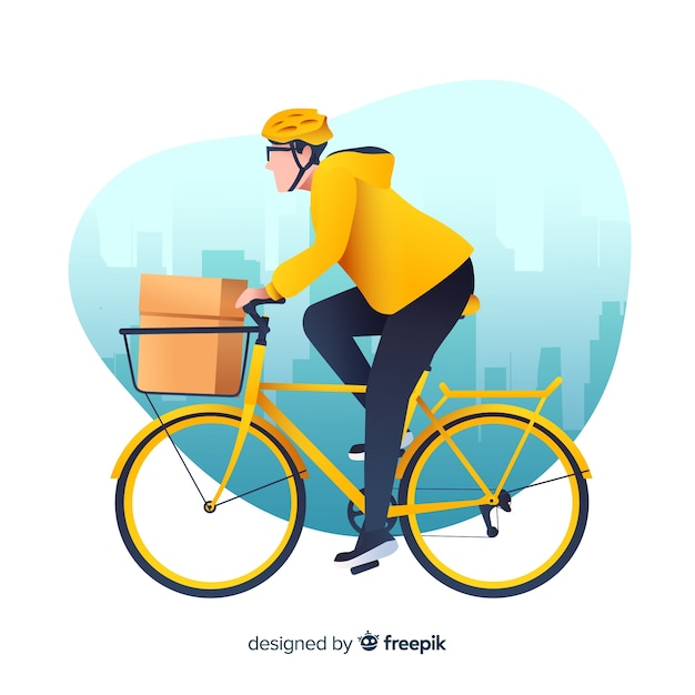 自転車の背景にフラット配達の少年 無料ベクター