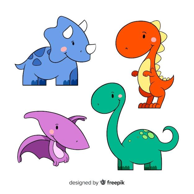 手描きの恐竜コレクション 無料ベクター