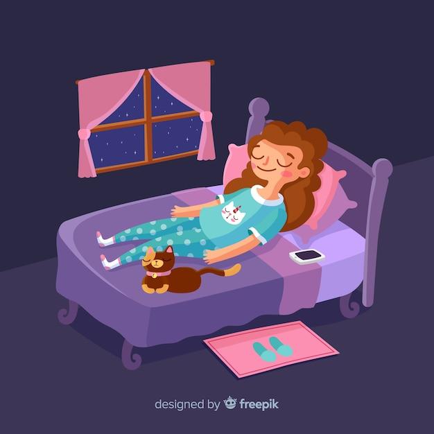ベッドの背景で眠っている人 無料ベクター