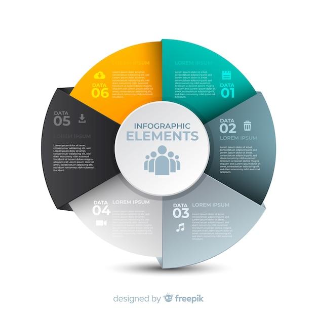 Плоская инфографика с эффектом градиента Бесплатные векторы