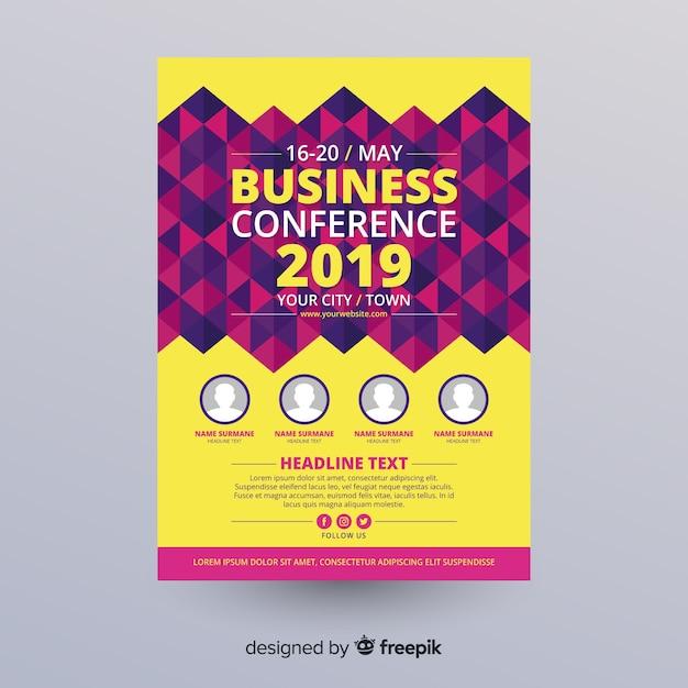 Плоский абстрактный бизнес-конференция флаер шаблон Бесплатные векторы