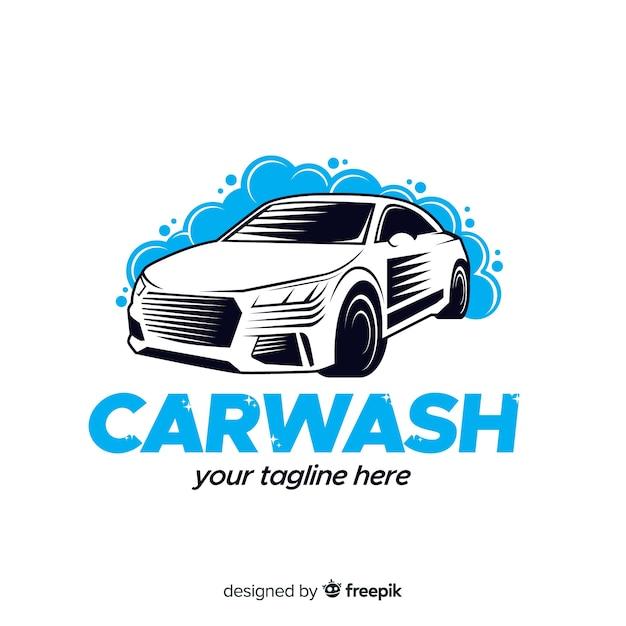 手描きの洗車のロゴの背景 無料ベクター
