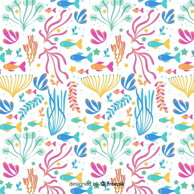 カラフルな手描きのサンゴパターン 無料ベクター