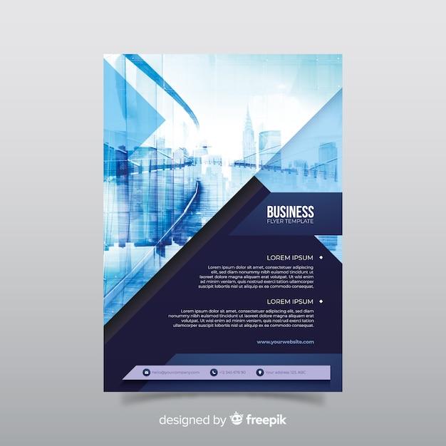 Бизнес флаер шаблон с фото Бесплатные векторы
